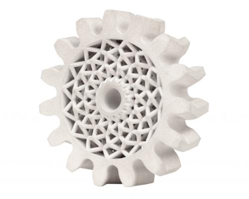 3D printed herringbone gear made of 4140 steel. Photo via Desktop Metal.