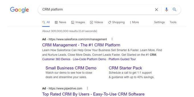 google crm platform search