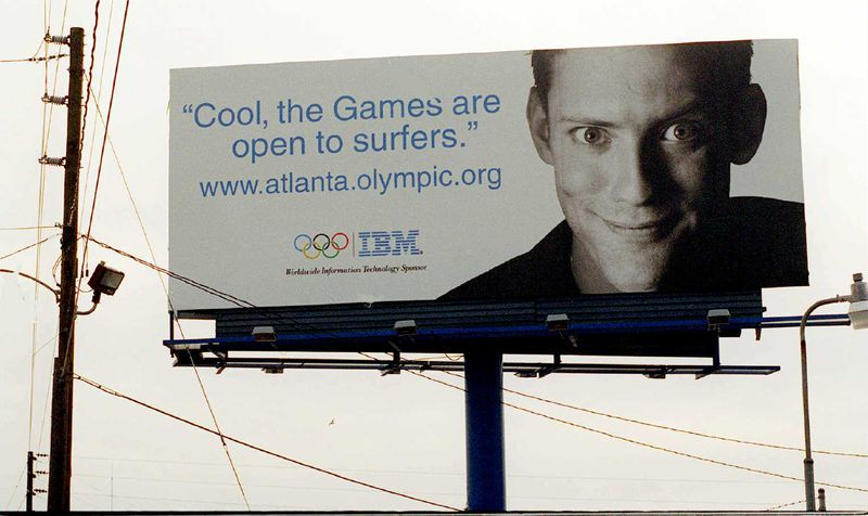 """IBM touted itself """"the Official Internet Information Systems Provider for The Atlanta Committee for the Olympic Games"""" on the official website and on billboards such as this one in Atlanta from December 1995. (Marlene Karas / AJC file)"""