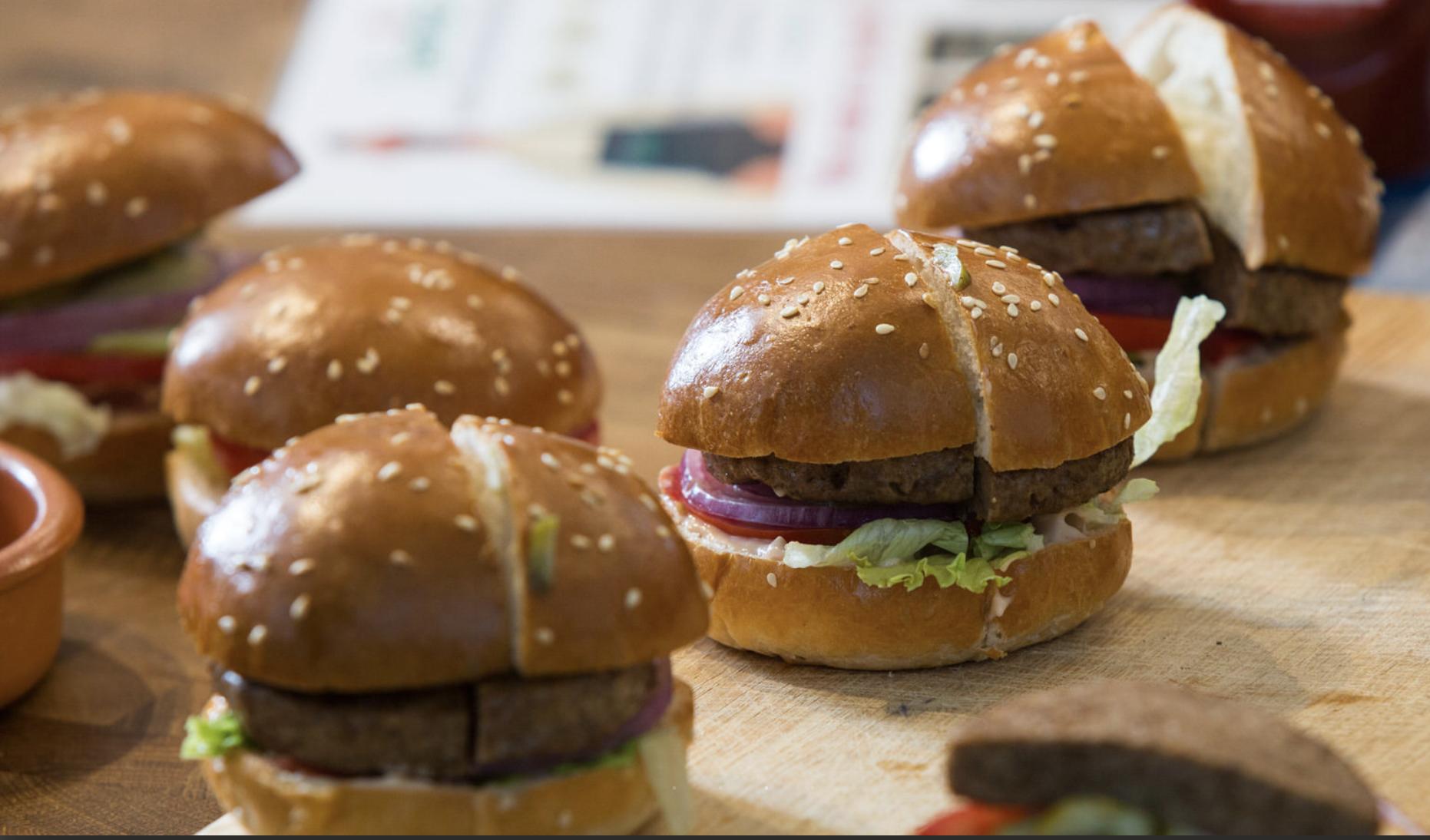 SavorEat's 3D printed plant-based burgers. Photo via SavorEat.