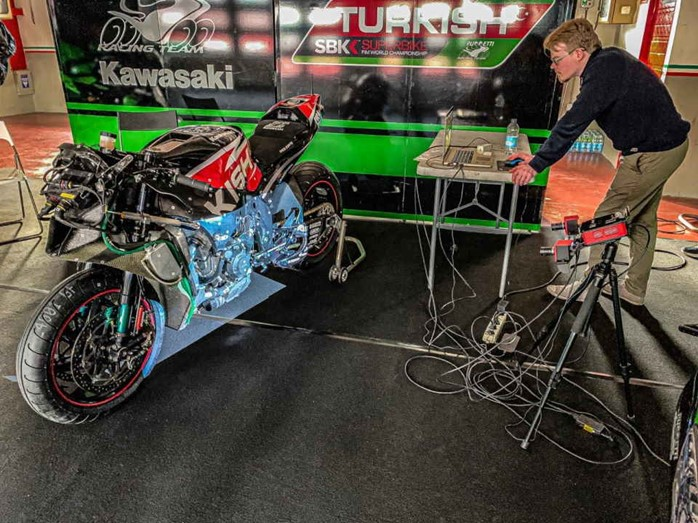 The bike was scanned using a RangeVision 3D scanner. Photo via Kawasaki Puccetti Racing.